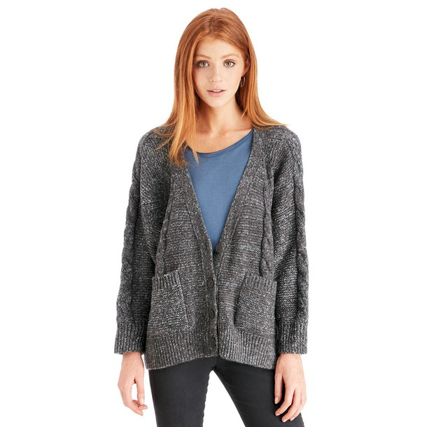 Sole Society Cable Knit Cardigan  - Charcoal-One Size