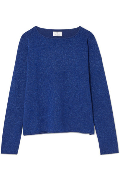 sweater metallic navy wool