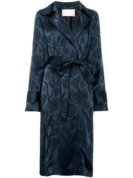 Peter Pilotto - satin jacquard trench coat - women - Acetate/Viscose - 14, Blue, Acetate/Viscose