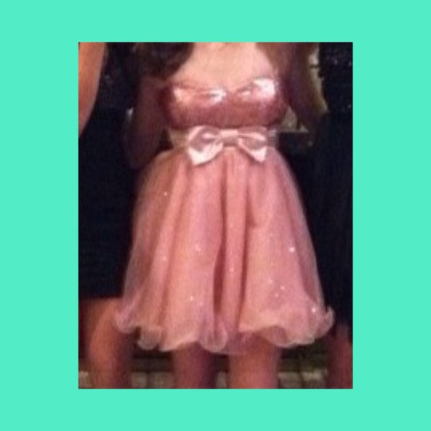dress pink dress sparkly dress bow dress homecoming dress fancy dress idk