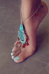 jewels,body chain,chain,anklet,blue,red,orange,bracelets,gold,cute,pretty,prom,toe ring,sandals