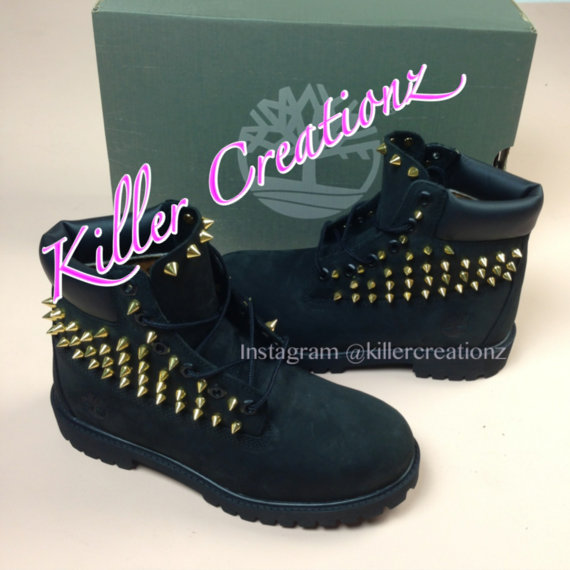 Custom spiked BLACK Timberland boots any size  by KillerCreationz