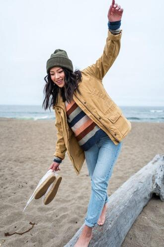 the fancy pants report blogger sweater jacket shoes beanie striped sweater spring outfits