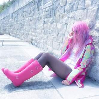 coat pink rainbow kawaii pastel grunge tumblr grunge pretty pastel