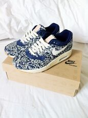 shoes,nike,air max,blue and white,sneakers,motif shoes,nike air max 1,floral,pattern,nike air max sneakers girl blue fast love pack,liberty,nike x liberty