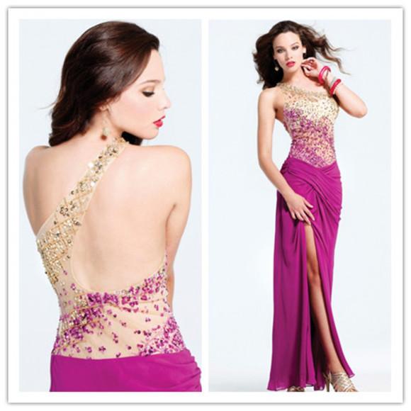 evening dress high slit dress sexy dress prom dress 2014 dress best selling dress purple dress sequin beaded dress one shoulder dress
