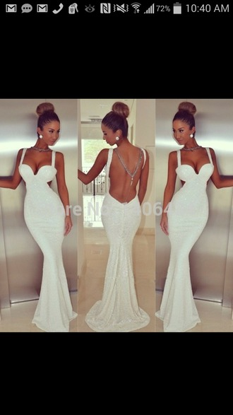 dress white dress sequin dress long dress sleeveless dress backless dress