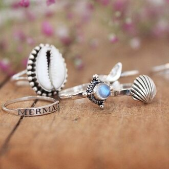 shell opal gemstone gemstone ring mermaid sea creatures silver jewelry
