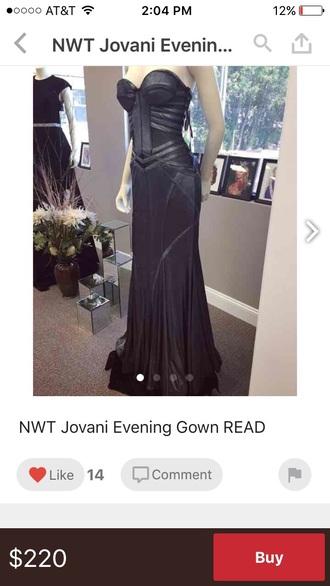 dress black jovani leather strapless mermaid goth long dress