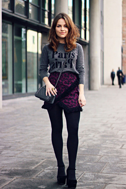 the little magpie blogger skirt grey sweater paris pattern plum asymmetrical skirt