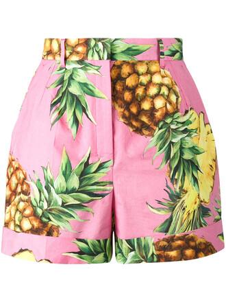 shorts women pineapple pineapple print cotton print purple pink