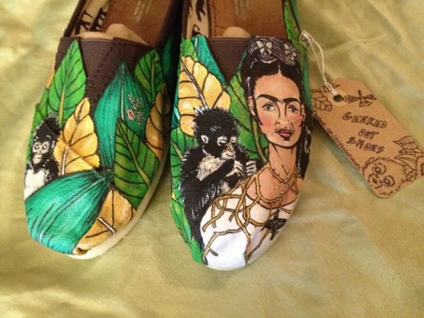shoes frida kahlo toms green monkey painted toms painted shoes
