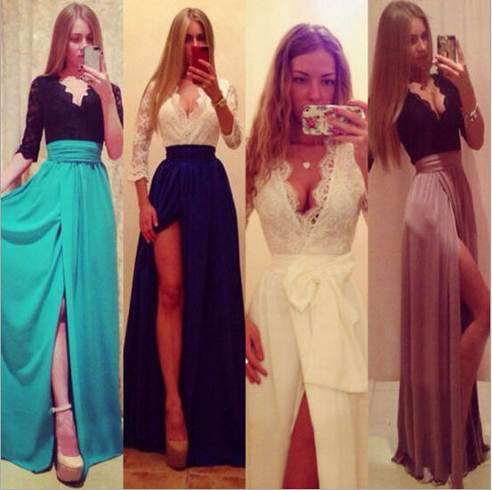 Lady Sexy Lace Bandage Party Clubwear Women 3/4 Sleeve Maxi Long Side Slit Dress