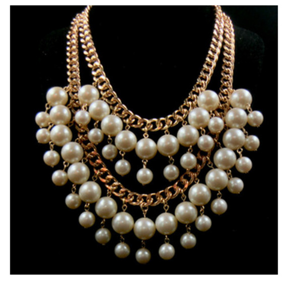 jewels pearl necklace gold chain