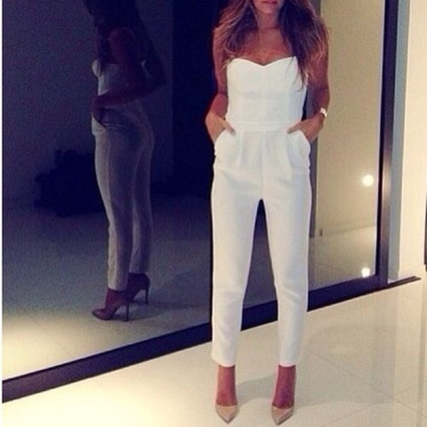 dress white jumpsuit romper pants nice white white high heels gold tan hair one piece jumpsuit high heels shoes trouser pretty jumpsuite elegant elegant outfit white jumpsuit strapless