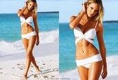 swimwear,bikini,white,two-piece,i'm a celebrity,amy willerton,one piece swimsuit,sexy,white push-up strappy swimwear,white swimwear,white bikini,bandage,ruffle bandeau bikini,summer,summer outfits,sexy bikini,beach,victoria's secret,candice swanepoel,model,bikini top,bikini bottoms,editorial