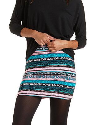 Tribal print bodycon mini skirt: charlotte russe