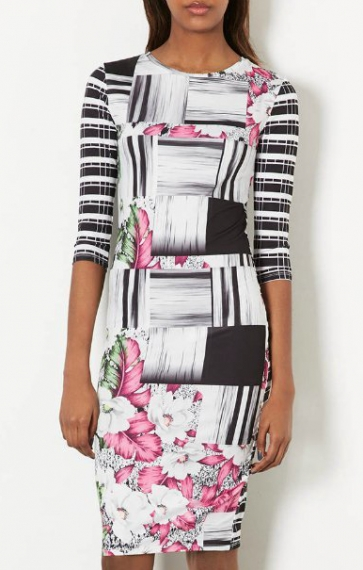 Three Quarter Sleeves Back Grids Printing Vintage Dress