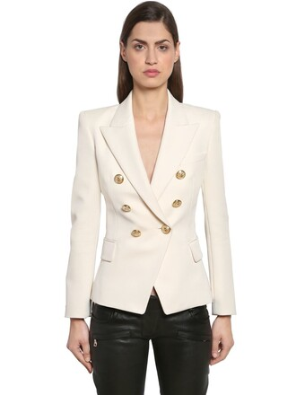 blazer double breasted wool white jacket