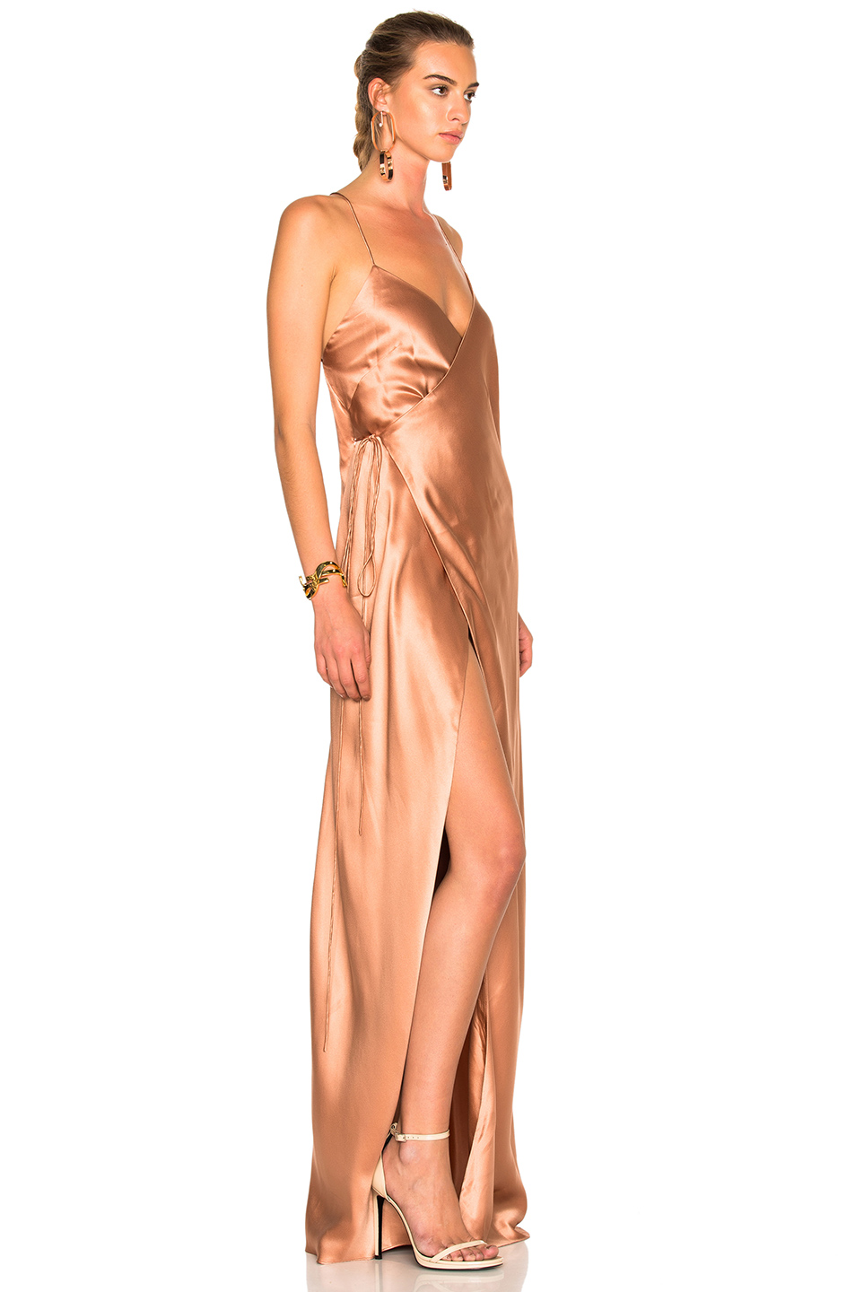 Michelle Mason Strappy Wrap Dress in Terracotta | FWRD