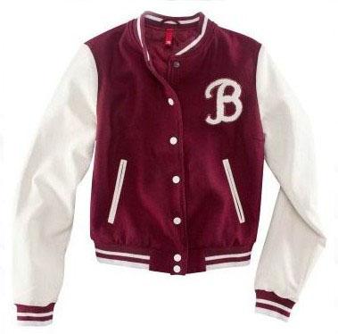Red white short letter b varsity jacket for girls [red varsity jacket for girls]