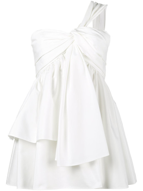 Adeam - One Shoulder Knotted Bustier Top - women - Cotton/Polyester - 2, White, Cotton/Polyester