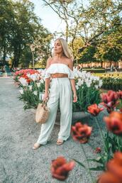 jewels,angelica blick,blogger,spring outfits,basket bag,straw bag,sandals,off the shoulder top,pants
