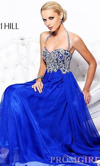 Long Halter Prom Dress, Sherri Hill Beaded Halter Gown- PromGirl