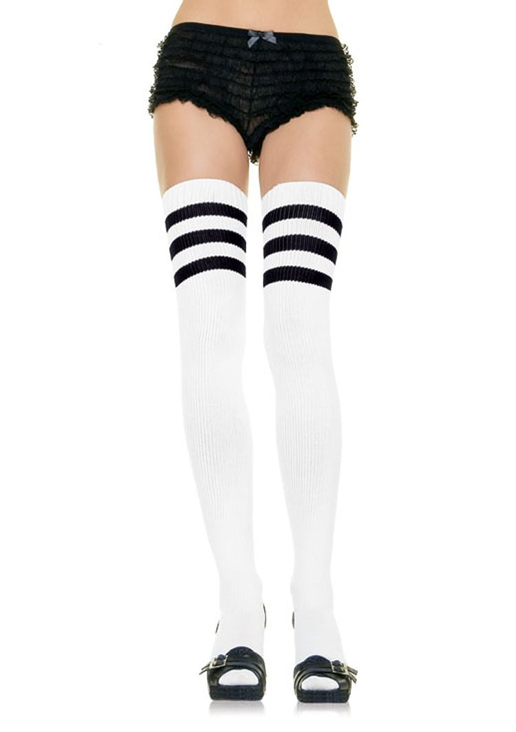 Amazon.com: 3 Striped Athletic Ribbed Thigh Highs: Clothing