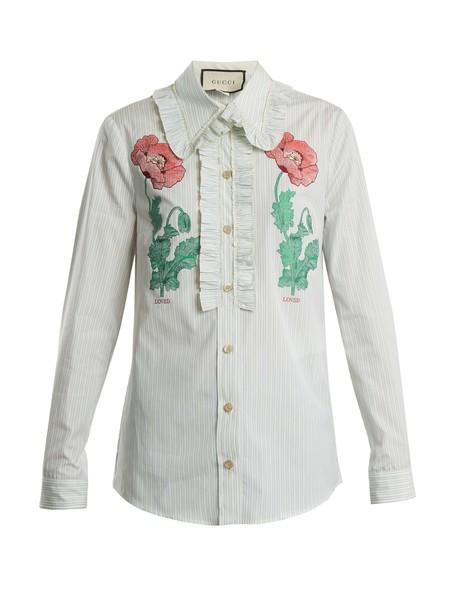 gucci shirt floral cotton light blue light blue top