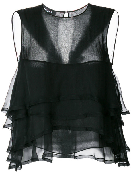 Rochas blouse women black silk top