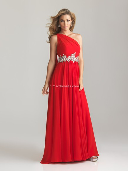 one shoulder beading chiffon floor length dress