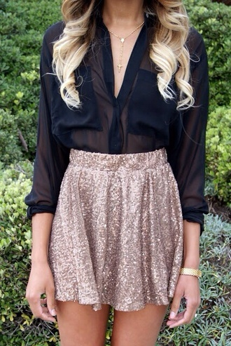 blouse skirt sequins gold sequins gold skater skirt gold skirt sparkle sequin skirt cute new year's eve lovely black shirt clothes sheer black blouse see trough blouse v neck blouse v neck sparkly skirt