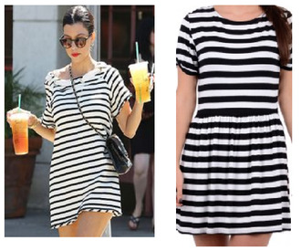 summer dress dress striped dress stripes kourtney kardashian skater dress