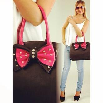 bag black bag beautiful bag pinkbag sparkle crystal quartz bows gorgeous bag diamanté bling accessories