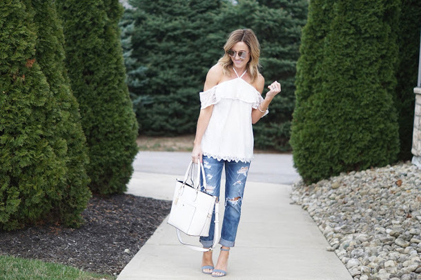 twopeasinablog blogger top jeans shoes sunglasses bag spring outfits lace top sandals high heel sandals tote bag