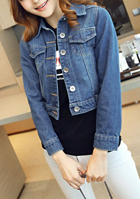 Women's slim long sleeve denim short outwear online