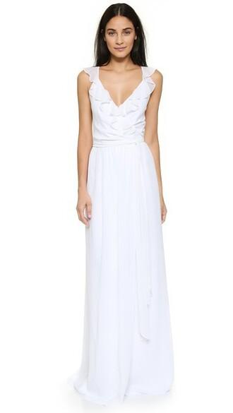 dress wrap dress ruffle white