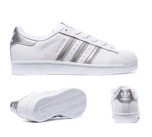 ddb00de1471 Exclusive Adidas Superstar White Metalic Silver Women s Girls ...