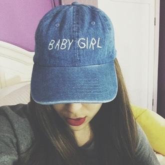 hat baby girl denim blue