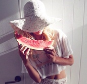 hat,lace,white,hate,crochet,sun,sun hat,cream,watermelon print,tank top,california,shirt,palm tree,palm tree print,pants,floppy,woven,straw hat