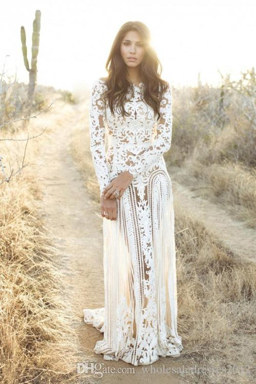 2015 bateau neck long sleeves see through nude and lace natural waist lace a line designer wedding dresses