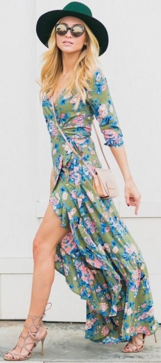 dress wrap dress floral wrap dress floral dress maxi dress hat green hat sandals nude sandals sunglasses round sunglasses bag nude bag summer dress summer outfits