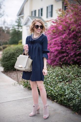 something delightful blogger dress jewels shoes sunglasses bag navy dress mini dress handbag ankle boots