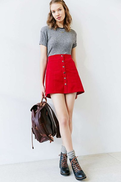 Skirt: red suede skirt, red mini skirt, red skirt, suede skirt ...