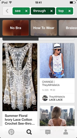 t-shirt white top lace white top cream top white top sleeveless transparent top lace top