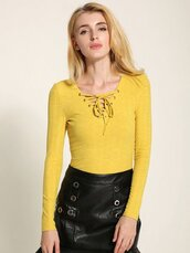 top,yellow,fashion,style,trendy,lace up,long sleeves,newchic