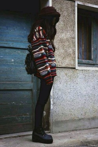 sweater pullover vintage pullover winter sweater jacket shoes oversized sweater indie grunge alternative cute sweaters tumblr tumblr girl cardigan vintage t'es red long sleeves patterned hoodie tribal print black shoes tribal print sweater jumper jeans bag whole oufit