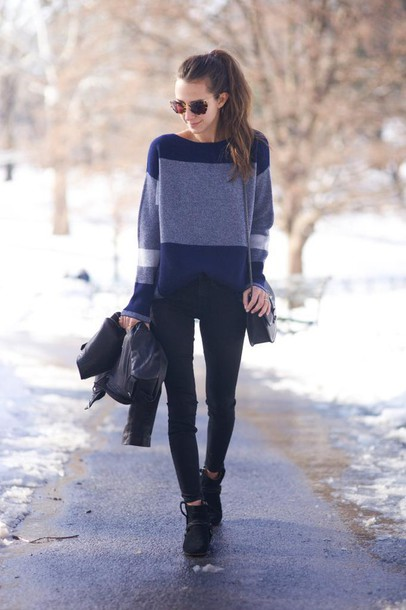 something navy blogger sweater colorblock