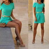 dress,turquoise,gold,tiffany blue dress,summer dress,summer outfits,tumblr girl,instagram,fancy,tiffany blue,short dress,belt,shoes,bag,jewels